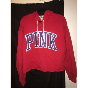 Victoria secret PINK Red cropped hoodie size L